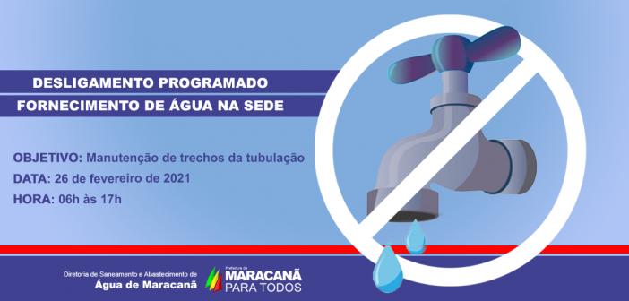 COMUNICADO – Desligamento do fornecimento de água na cidade.